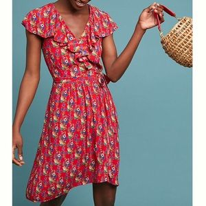 Maeve Rosalia Wrap Dress-Red Motif